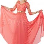 FO467352mercan dantel islemeli kemerli elbise s3638 tesettur abiye1 150x150 Hanım Hanımcık Abiye Elbise Modelleri 2014